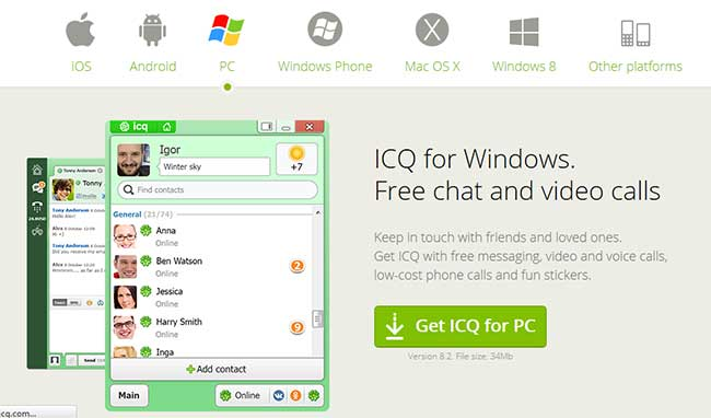 Best Facebook Chat Software for Windows ICQ